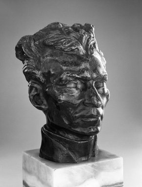 Auguste Rodin (French, 1840-1917). <em>Father Pierre-Julien Eymard, Head (Le Père Pierre-Julien Eymard)</em>, 1863, reduction before 1901; cast between 1905-1929. Bronze, 5 7/8 × 4 1/2 × 4 3/4 in. (14.9 × 11.4 × 12.1 cm). Brooklyn Museum, Gift of the Iris and B. Gerald Cantor Foundation, 84.75.6. Creative Commons-BY (Photo: Brooklyn Museum, 84.75.6_bw.jpg)