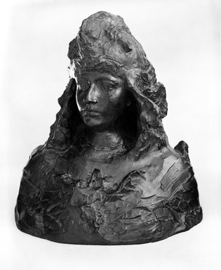 Auguste Rodin (French, 1840-1917). <em>Study for France or Saint George (Étude pour la France, ou Saint Georges)</em>, ca. 1903, cast 1982. Bronze, 20 x 17 3/4 x 13 7/8 in.  (50.8 x 45.1 x 35.2 cm). Brooklyn Museum, Gift of the Iris and B. Gerald Cantor Foundation, 84.75.7. Creative Commons-BY (Photo: Brooklyn Museum, 84.75.7_bw.jpg)