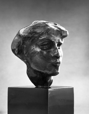 Auguste Rodin (French, 1840-1917). <em>Head of Mournful Spirit</em>, n.d. Bronze, 2 1/4 x 1 7/8 x 1 7/8 in.  (5.7 x 4.8 x 4.8 cm). Brooklyn Museum, Gift of the Iris and B. Gerald Cantor Foundation, 84.75.9. Creative Commons-BY (Photo: Brooklyn Museum, 84.75.9_bw.jpg)