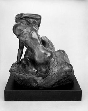 Auguste Rodin (French, 1840-1917). <em>Bacchantes Embracing (Bacchantes s'enlaçant)</em>, possibly before 1896; cast after 1967. Bronze, 15 × 15 × 11 in. (38.1 × 38.1 × 27.9 cm). Brooklyn Museum, Gift of Iris and B. Gerald Cantor, 84.77.2. Creative Commons-BY (Photo: Brooklyn Museum, 84.77.2_bw.jpg)