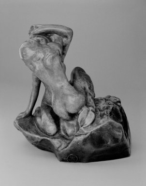 Auguste Rodin (French, 1840-1917). <em>Bacchantes Embracing, Small Model (Bacchantes s'enlaçant, petit modèle)</em>, possibly before 1896; cast after 1967. Bronze, 6 5/8 x 6 1/4 x 4 1/4 in. (16.8 x 15.9 x 10.8 cm). Brooklyn Museum, Gift of Iris and B. Gerald Cantor, 84.77.3. Creative Commons-BY (Photo: Brooklyn Museum, 84.77.3_bw_SL3.jpg)