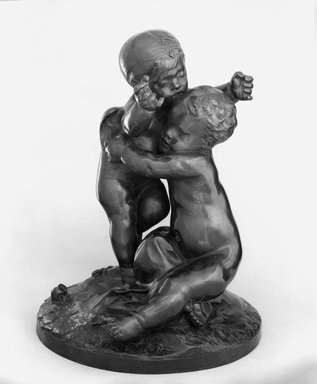 Auguste Rodin (French, 1840-1917). <em>Idyll of Ixelles (Idyll d'Ixelles)</em>, 1883-1884, cast 1980. Bronze, 21 x 16 1/2 x 16 1/2 in.  (53.3 x 41.9 x 41.9 cm). Brooklyn Museum, Gift of Iris and B. Gerald Cantor, 84.77.4. Creative Commons-BY (Photo: Brooklyn Museum, 84.77.4_bw.jpg)
