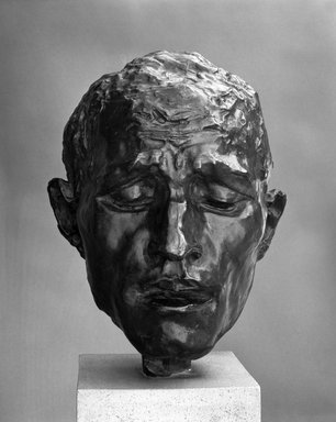 Auguste Rodin (French, 1840-1917). <em>Pierre de Wiessant, Type B Head (Pierre de Wissant, tête Type B)</em>, 1885 or 1886; cast before 1952. Bronze, 11 1/4 × 8 1/2 × 9 in., 11 lb. (28.6 × 21.6 × 22.9 cm). Brooklyn Museum, Gift of Iris and B. Gerald Cantor, 84.77.9. Creative Commons-BY (Photo: Brooklyn Museum, 84.77.9_bw.jpg)