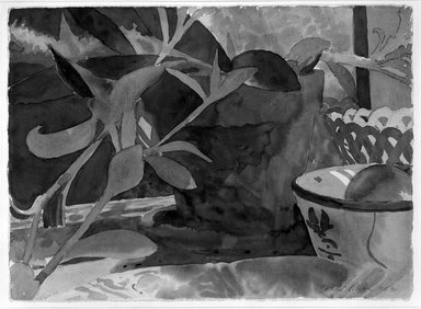 David Rohn (American, born 1934). <em>Plant, Bowl, Mirror</em>, 1983. Watercolor on paper, Sheet: 22 1/8 x 30 1/2 in. (56.2 x 77.5 cm). Brooklyn Museum, Gift of Wolf Kahn, 84.79. © artist or artist's estate (Photo: Brooklyn Museum, 84.79_bw.jpg)