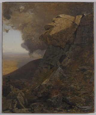 Jervis McEntee (American, 1828-1891). <em>A Cliff in the Katskills</em>, ca. 1885. Oil on canvas, 36 1/8 x 30 in. (91.7 x 76.2 cm). Brooklyn Museum, Gift of The Roebling Society in honor of Carl L. Selden, 84.81 (Photo: Brooklyn Museum, 84.81_PS9.jpg)