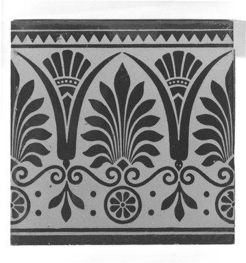 International Tile Company. <em>Tile</em>, ca. 1882. Earthenware, 1/2 x 6 x 6 in. (1.3 x 15.2 x 15.2 cm). Brooklyn Museum, Gift of Florence I. Barnes, 85.106.1. Creative Commons-BY (Photo: Brooklyn Museum, 85.106.1_bw.jpg)