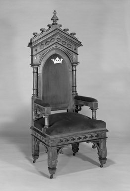 <em>Chair</em>, ca. 1870. Walnut, upholstery, 69 x 29 x 23in. (175.3 x 73.7 x 58.4cm). Brooklyn Museum, Bequest of Edmund C. Morton, 85.107. Creative Commons-BY (Photo: Brooklyn Museum, 85.107_bw.jpg)