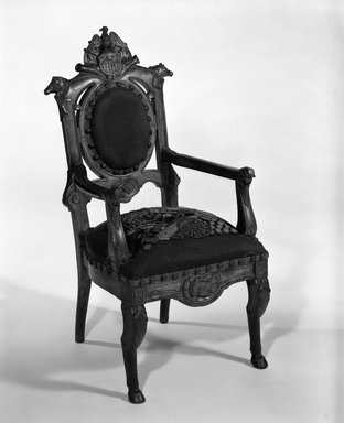 Unknown. <em>Child's Armchair (relic)</em>, ca. 1860-1870. Oak, original needlepoint upholstery, 31 1/2 x 15 x 16 1/2 in.  (80.0 x 38.1 x 41.9 cm). Brooklyn Museum, Designated Purchase Fund, 85.112.1. Creative Commons-BY (Photo: Brooklyn Museum, 85.112.1_bw_IMLS.jpg)