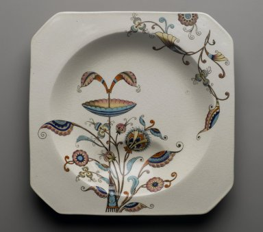 Christopher Dresser (English, 1834-1904). <em>Soup Plate, Persia Pattern</em>, ca. 1886. Glazed earthenware, 1 1/4 x 8 7/8 x 8 7/8 in. (3.2 x 22.5 x 22.5 cm). Brooklyn Museum, Designated Purchase Fund, 85.112.2. Creative Commons-BY (Photo: Brooklyn Museum, 85.112.2_PS6.jpg)