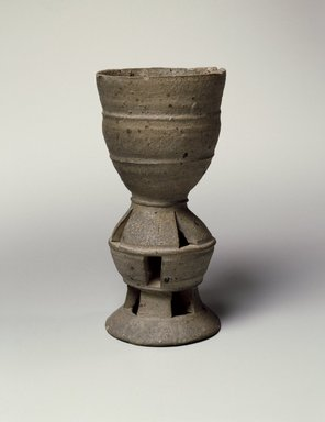 <em>Bell Cup</em>, 5th-6th century. Stoneware, Height: 6 3/8 in. (16.2 cm). Brooklyn Museum, Gift of Mr. and Mrs. Roger Elliot and Mr. and Mrs. Jack Ford in memory of Jean Alexander, 85.114.2. Creative Commons-BY (Photo: Brooklyn Museum, 85.114.2_SL3.jpg)