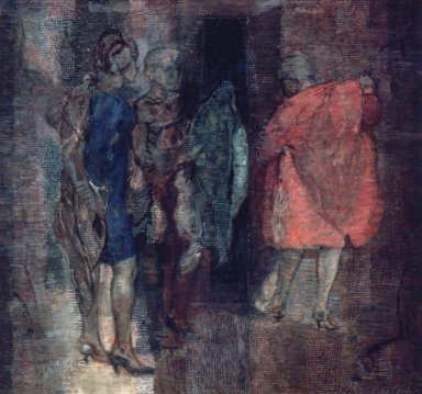 Isabel Bishop (American, 1902-1988). <em>The Coats</em>, 1967. Oil, tempera and graphite on canvas, 39 x 41 in. (99.1 x 104.1 cm). Brooklyn Museum, Gift of Mr. and Mrs. Robert E. Blum, 85.117. © artist or artist's estate (Photo: Brooklyn Museum, 85.117.jpg)