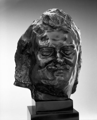 Auguste Rodin (French, 1840-1917). <em>Balzac, Smiling Head, known as Head I (Balzac, tête souriante dite Tête I)</em>, ca. 1893; cast 1980. Bronze, 6 5/8 x 5 1/2 x 5 3/4 in.  (16.8 x 14.0 x 14.6 cm). Brooklyn Museum, Gift of the B. Gerald Cantor Collection, 85.119. Creative Commons-BY (Photo: Brooklyn Museum, 85.119_bw.jpg)