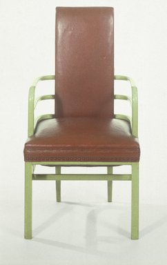 Kem Weber (American, born Germany, 1889-1963). <em>Armchair</em>, 1928. Wood, leather, 40 1/2 x 21 1/2 x 20 in. (102.9 x 54.6 x 50.8 cm). Brooklyn Museum, H. Randolph Lever Fund, 85.11. Creative Commons-BY (Photo: Brooklyn Museum, 85.11_reference_SL1.jpg)