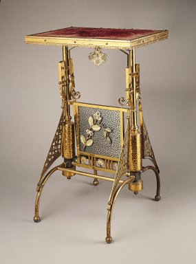 The Charles Parker Company (American, established 1832). <em>Table</em>, ca. 1880. Brass, other metals, wood, fabric, 29 x 19 x 17 1/2 in. (73.7 x 48.3 x 44.5 cm). Brooklyn Museum, H. Randolph Lever Fund, 85.12.1. Creative Commons-BY (Photo: Brooklyn Museum, 85.12.1_SL1.jpg)