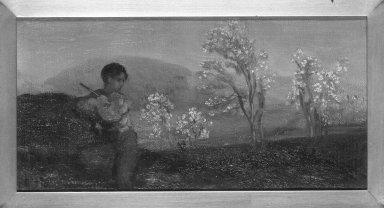 Arthur B. Davies (American, 1862-1928). <em>Boy Playing a Flute</em>. Oil on canvas, 24 x 15 1/2 in. (61 x 39.4 cm). Brooklyn Museum, Bequest of Elma Loines, 85.120.2. © artist or artist's estate (Photo: Brooklyn Museum, 85.120.2_framed_bw.jpg)