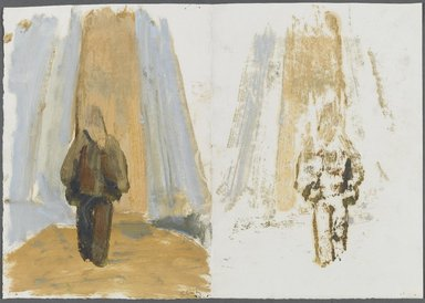 William Clutz (American, born 1933). <em>Study for Brooklyn Bridge Series</em>, 1970-1979. Oil on paper, 10 1/4 x 14 1/2 in. (26 x 36.8 cm). Brooklyn Museum, Bequest of John Fanelli, 85.125.5. © artist or artist's estate (Photo: Brooklyn Museum, 85.125.5_side1_PS1.jpg)
