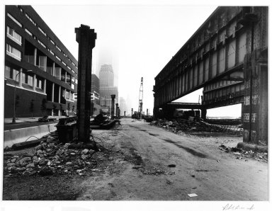 Robert Bianchi (American, born 1944). <em>Untitled (Girders)</em>, 1984. Selenium-toned gelatin silver photograph, composition/sheet: 10 7/8 x 13 7/8 in. (27.6 x 35.3 cm). Brooklyn Museum, Gift of Mrs. William J. Isaacson, 85.127.5. © artist or artist's estate (Photo: Brooklyn Museum, 85.127.5_bw.jpg)
