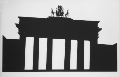 Robert Longo (American, born 1953). <em>Untitled (Empire Print)</em>, 1981. Silkscreen on paper, 39 x 59 3/4 in. (99.1 x 151.8 cm). Brooklyn Museum, Gift of Estelle Schwartz, 85.131.2. © artist or artist's estate (Photo: Brooklyn Museum, 85.131.2_bw.jpg)