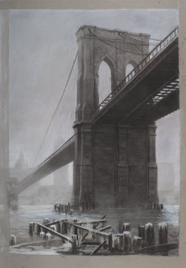 Richard Haas (American, born 1936). <em>Brooklyn Bridge</em>, 1985. Charcoal and pastel on paper, 46 1/2 x 32 1/4 in. (118.1 x 81.9 cm). Brooklyn Museum, Gift of Henry Welt, 85.134. © artist or artist's estate (Photo: Brooklyn Museum, 85.134_PS1.jpg)
