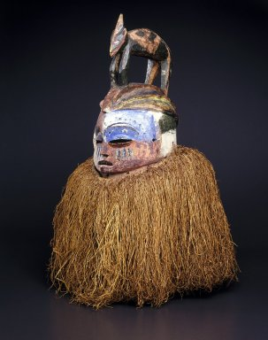 Suku. <em>Hemba Mask</em>, 20th century. Wood, raffia, pigment, 26 x 21 in. (66.0 x 53.3 cm). Brooklyn Museum, Gift of Dr. and Mrs. Abbott A. Lippman, 85.143. Creative Commons-BY (Photo: Brooklyn Museum, 85.143_SL1.jpg)