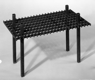 David Zelman. <em>Interlocking Occasional Table</em>, 1985. Steel, 35 1/4 x 12 x 9 in. (89.5 x 30.5 x 22.9 cm). Brooklyn Museum, Gift of Norma Duell, 85.152.1. Creative Commons-BY (Photo: Brooklyn Museum, 85.152.1_bw_IMLS.jpg)