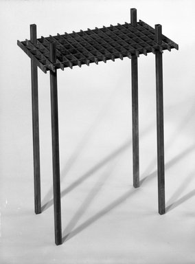 David Zelman. <em>Interlocking Occasional Table</em>, 1985. Steel, 25 1/2 x 19 1/4 x 12 in. (64.8 x 48.9 x 30.5 cm). Brooklyn Museum, Gift of Norma Duell, 85.152.2. Creative Commons-BY (Photo: Brooklyn Museum, 85.152.2_bw_IMLS.jpg)