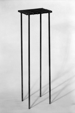 David Zelman. <em>Interlocking Occasional Table</em>, ca. 1985. Steel, 18 x 27 1/2 x 16 in. (45.7 x 69.9 x 40.6 cm). Brooklyn Museum, Gift of Norma Duell, 85.152.3. Creative Commons-BY (Photo: Brooklyn Museum, 85.152.3_bw_IMLS.jpg)
