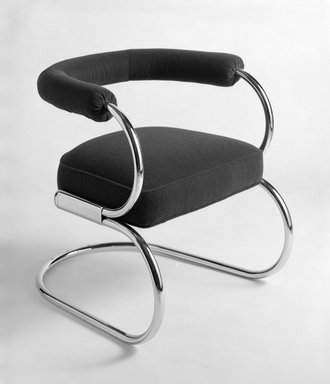 "Nathan George Horwitt (American, 1898-1990). <em>""Beta"" Chair</em>, 1930. Tubular steel, wood, upholstery, 26 x 22 7/8 x 27 1/2 in. (66 x 58.1 x 69.9 cm). Brooklyn Museum, Gift of the artist