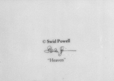 "Stanley Tigerman. <em>Buffet Plate, ""Heaven"" Pattern</em>, ca. 1985. Porcelain, 1 1/8 x 12 x 12 in. (2.9 x 30.5 x 30.5 cm). Brooklyn Museum, Gift of Paul F. Walter, 85.158.20. Creative Commons-BY (Photo: Brooklyn Museum, 85.158.20_mark_bw.jpg)"