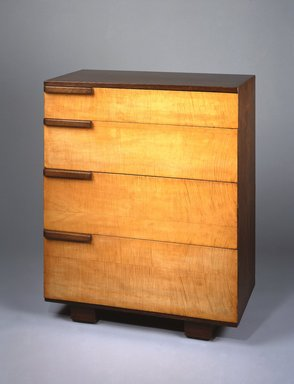 Gilbert Rohde (American, 1894-1944). <em>Bureau</em>, 1933-1934. English sycamore, sucupiro, plywood, 42 1/2 x 34 x 19 1/4 in. (108 x 86.4 x 48.9 cm). Brooklyn Museum, Designated Purchase Fund, 85.159.2. Creative Commons-BY (Photo: Brooklyn Museum, 85.159.2_SL1.jpg)