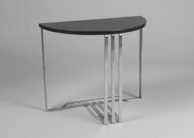Alfons Bach (American, born Germany, 1904-1999). <em>Table, One of Pair</em>, ca. 1937. Chromed steel, wood, 21 7/8 x 26 x 13 in. (55.6 x 66 x 33 cm). Brooklyn Museum, H. Randolph Lever Fund, 85.159.3. Creative Commons-BY (Photo: Brooklyn Museum, 85.159.3.jpg)