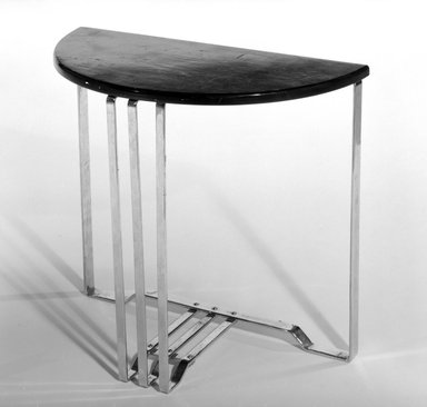 Alfons Bach (American, born Germany, 1904-1999). <em>Table, One of Pair</em>, 1937. Chromed steel, wood, 21 1/8 x 25 1/4 x 12 1/2 in. (53.7 x 64.1 x 31.8 cm). Brooklyn Museum, H. Randolph Lever Fund, 85.159.4. Creative Commons-BY (Photo: Brooklyn Museum, 85.159.4_bw.jpg)