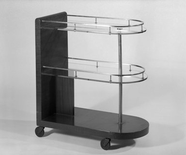 Gilbert Rohde (American, 1894-1944). <em>Serving Cart, Model 3321</em>, ca. 1933. Wood, metal, glass, rubber, 33 1/4 x 15 x 30 3/4 in. (84.5 x 38.1 x 78.1 cm). Brooklyn Museum, H. Randolph Lever Fund, 85.160.2. Creative Commons-BY (Photo: Brooklyn Museum, 85.160.2_bw.jpg)