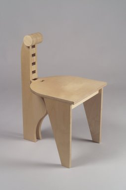 "Leo Blackman (American, born 1956). <em>""Blongo"" Side Chair</em>, ca. 1984. Birch plywood, 27 1/8 x 15 x 17 1/2 in. (68.9 x 38.1 x 44.5 cm). Brooklyn Museum, H. Randolph Lever Fund, 85.161. Creative Commons-BY (Photo: Brooklyn Museum, 85.161.jpg)"
