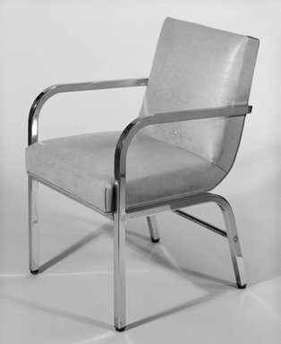 Donald Deskey (American, 1894-1989). <em>Armchair</em>, ca. 1933. Steel, vinyl, 32 x 21 3/8 x 22 1/2 in. (81.3 x 54.3 x 57.2 cm). Brooklyn Museum, H. Randolph Lever Fund, 85.164.1. Creative Commons-BY (Photo: Brooklyn Museum, 85.164.1_bw.jpg)