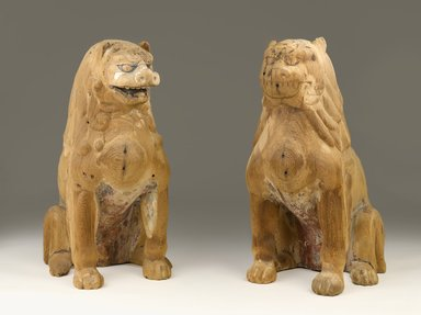 <em>Koma-Inu (Mouth Open); One of Pair</em>, early 13th century. Hinoki (cypress wood) with traces of pigment, 21 x 11 1/4 in. (53.3 x 28.6 cm). Brooklyn Museum, Purchased with funds given by Mr. and Mrs. Milton F. Rosenthal and Dr. and Mrs. Robert Feinberg, A. Augustus Healy Fund, Frank L. Babbott Fund, and Designated Purchase Fund, 85.171.1. Creative Commons-BY (Photo: , 85.171.1_85.171.2_PS9.jpg)
