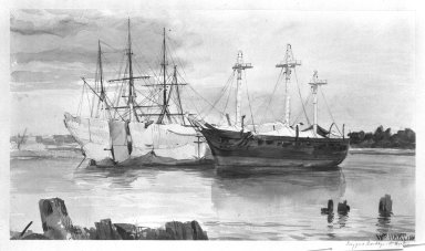 William Hart (American, born Scotland, 1823-1894). <em>Navy Yard, Brooklyn</em>. Watercolor on paper Brooklyn Museum, Gift of Mr. and Mrs. Philip Janvey, 85.175 (Photo: Brooklyn Museum, 85.175_bw.jpg)