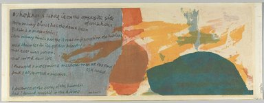 Corita Kent (aka Sister Mary Corita) (American, 1918-1986). <em>Opposite Side</em>, 1961. Sreenprint  (serigraph), sheet: 11 5/8 × 31 in. (29.5 × 78.7 cm). Brooklyn Museum, Gift of IBM Gallery of Science and Art, 85.187.13. © artist or artist's estate (Photo: Brooklyn Museum, 85.187.13_PS9.jpg)