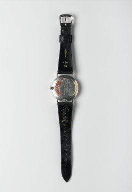 "Nathan George Horwitt (American, 1898-1990). <em>""Museum"" Watch</em>, ca. 1955. White gold with black enamel, 1 3/8 x 8 1/4 in. (3.5 x 21 cm). Brooklyn Museum, Gift of Nathan George Horwitt, 85.208. Creative Commons-BY (Photo: Brooklyn Museum, 85.208_back_PS2.jpg)"