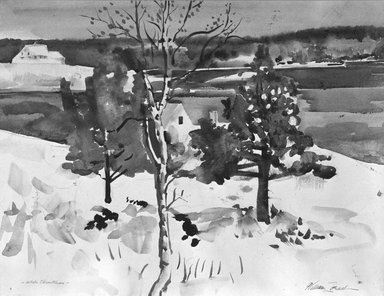 William Zorach (American, born Lithuania, 1887-1966). <em>White Christmas, Maine</em>. Watercolor on paper, 14 5/8 x 18 7/8 in. (37.1 x 47.9 cm). Brooklyn Museum, Gift of Basil Shanahan, 85.21.2. © artist or artist's estate (Photo: Brooklyn Museum, 85.21.2_bw.jpg)