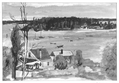 William Zorach (American, born Lithuania, 1887-1966). <em>Houses Near a Lake</em>, 1952. Watercolor on paper, 14 5/8 x 21 1/4 in. (37.1 x 54 cm). Brooklyn Museum, Gift of Basil Shanahan, 85.21.4. © artist or artist's estate (Photo: Brooklyn Museum, 85.21.4_bw.jpg)