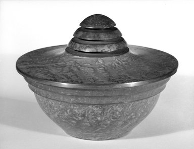 Carl Sorenson. <em>Covered Bowl</em>, ca. 1935. Patinated copper, 6 x 3 1/2 in. (15.2 x 8.9 cm). Brooklyn Museum, Designated Purchase Fund, 85.213.7a-b. Creative Commons-BY (Photo: Brooklyn Museum, 85.213.7a-b_bw.jpg)