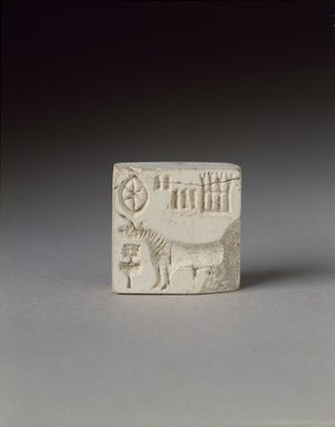 <em>Seal with Unicorn</em>, 2500-2000 B.C.E. Steatite, 15/16 x 15/16 in. (2.4 x 2.4 cm). Brooklyn Museum, Gift of Georgia and Michael de Havenon, 85.215.1. Creative Commons-BY (Photo: Brooklyn Museum, 85.215.1_SL3.jpg)