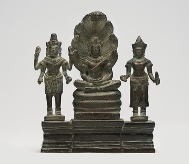 <em>Buddha Mucalinda and Attendants</em>, late 12th-13th century. Copper alloy with lead, iron, and traces of gilding, 8 1/2 × 7 3/8 × 2 3/8 in. (21.6 × 18.7 × 6 cm). Brooklyn Museum, Gift of Georgia and Michael de Havenon, 85.215.2. Creative Commons-BY (Photo: Brooklyn Museum, 85.215.2_overall_PS11.jpg)