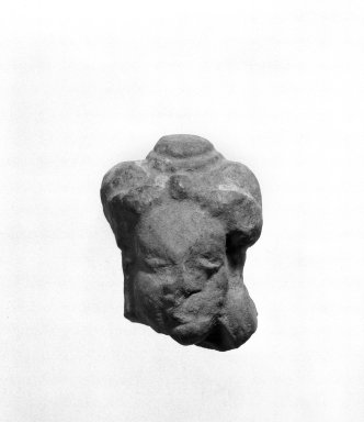 Kaushambi (Uttar Pradesh). <em>Head of a Female</em>. Red molded terracotta, 2 x 3 11/16 in. (5.1 x 9.3 cm). Brooklyn Museum, Gift of Norvin Hein, 85.216.7. Creative Commons-BY (Photo: Brooklyn Museum, 85.216.7_bw.jpg)