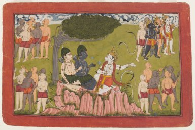 Indian. <em>Rama and Lakshmana Confer with Sugriva about the Search for Sita, Page from a Dispersed Ramayana Series</em>, ca. 1700-1710. Opaque watercolor and gold on paper, sheet: 7 7/8 x 12 in.  (20.0 x 30.5 cm). Brooklyn Museum, Gift of Mr. and Mrs. Robert L. Poster, 85.220.1 (Photo: Brooklyn Museum, 85.220.1_IMLS_PS4.jpg)