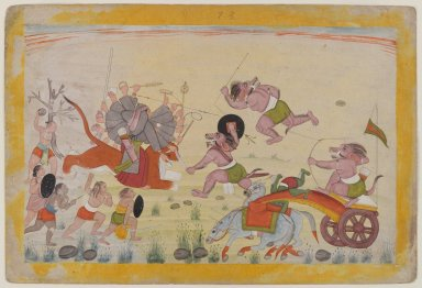 Indian. <em>Mahasura Attacks the Devi, Folio from a Dispersed Devi Mahatmya Series</em>, ca. 1770-1780. Opaque watercolor on paper, sheet: 7 7/8 x 11 5/8 in.  (20.0 x 29.5 cm). Brooklyn Museum, Gift of Mr. and Mrs. Robert L. Poster, 85.220.2 (Photo: Brooklyn Museum, 85.220.2_IMLS_PS4.jpg)