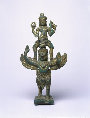 <em>Garudasana Vishnu</em>, late 12th century. Gilt Bronze, 7 13/16 x 3 9/16 x 1 3/4 in. (19.9 x 9.1 x 4.5 cm). Brooklyn Museum, Gift of Mr. and Mrs. Robert L. Poster, 85.220.4. Creative Commons-BY (Photo: Brooklyn Museum, 85.220.4_SL1.jpg)