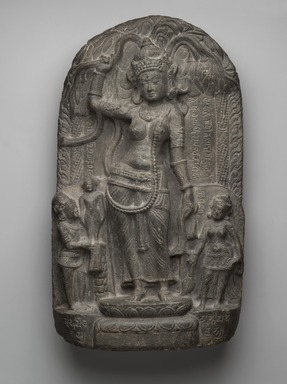 <em>Nativity Scene: The Birth of the Buddha</em>, 9th century. Gray schist, 15 1/2 x 9 x 4 1/8 in. (39.4 x 22.9 x 10.5 cm). Brooklyn Museum, Purchased with funds given by the Charles Bloom Foundation Inc. in memory of Charles and Mildred Bloom, 85.223.2. Creative Commons-BY (Photo: Brooklyn Museum, 85.223.2_PS2.jpg)