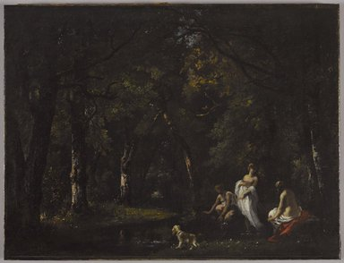 Narcisse-Virgile Diaz de la Peña (French, 1807-1876). <em>Bathers by a Woodland Stream</em>, 1859. Oil on canvas, 17 3/4 x 23 1/4 in. (45.1 x 59.1 cm). Brooklyn Museum, Gift of Mr. and Mrs. Arthur Gladstone in memory of Sylvia Israel, 85.228 (Photo: Brooklyn Museum, 85.228_PS9.jpg)